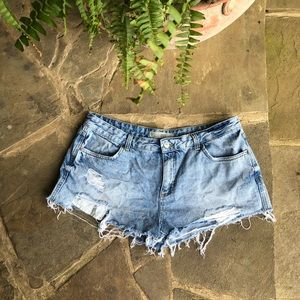 Topshop Moro Cory distressed jean shorts